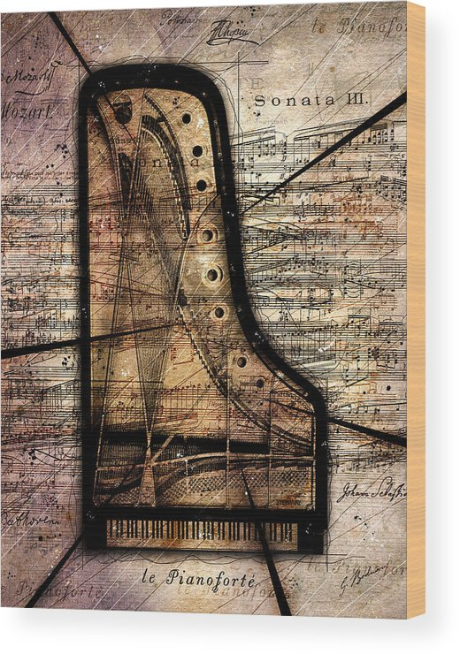 Piano Wood Print featuring the digital art Le Pianoforte Variation II by Gary Bodnar