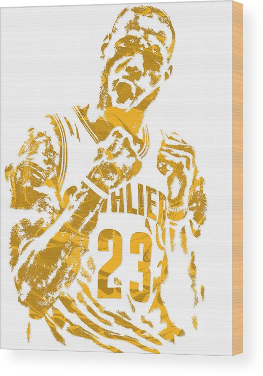 Lebron James Wood Print featuring the mixed media Lebron James Cleveland Cavaliers Pixel Art 9 by Joe Hamilton