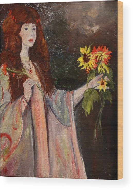 Beautiful Girl Wood Print featuring the painting Life Is Fragile Handle With Flowers by Nila Jane Autry