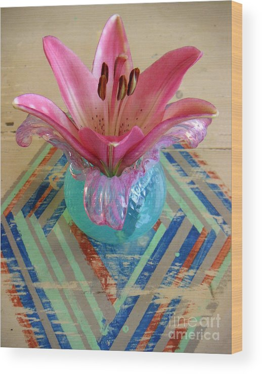 Nature Wood Print featuring the photograph Lily On A Painted Table Too by Lucyna A M Green