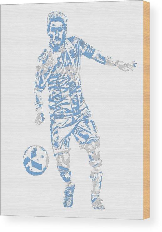 5001f771a43 Lionel Messi Wood Print featuring the mixed media Lionel Messi F C  Barcelona Argentina Pixel Art 3