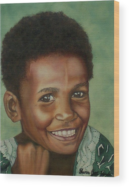 Portrait Wood Print featuring the painting Little Alis by Sharon Ebert