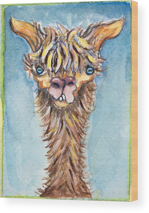 Animals Wood Print featuring the painting Long Neck Alpaca by Michelle Spiziri