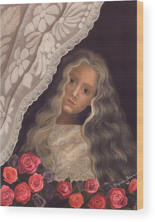 Victorian Wood Print featuring the painting Longing by Brenda Ellis Sauro