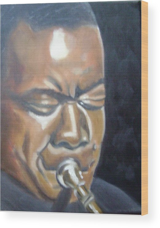 Louis Armstrong Wood Print featuring the painting Louis Armstrong by Toni Berry