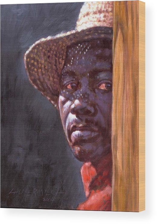 Black Man Wood Print featuring the painting Man In Straw Hat by John Lautermilch