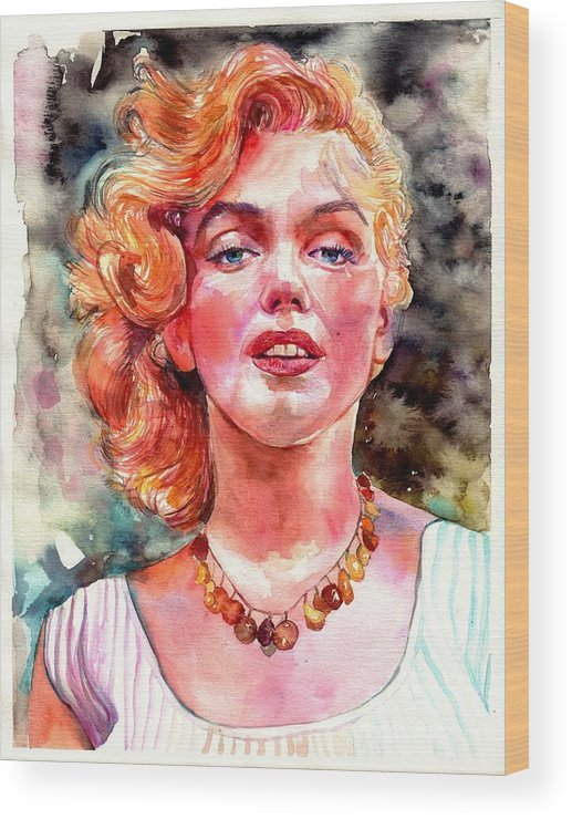 Marilyn Monroe Wood Print featuring the painting Marilyn Monroe Painting by Suzann Sines