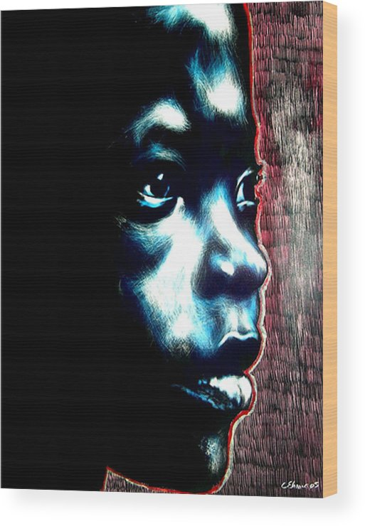 Wood Print featuring the mixed media Master Blue by Chester Elmore