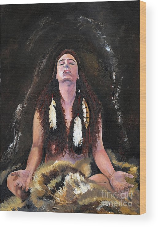 Southwest Art Wood Print featuring the painting Medicine Woman by J W Baker