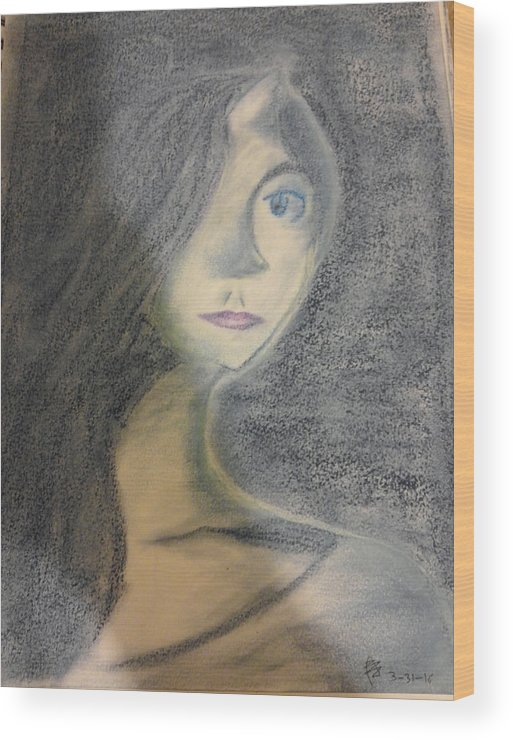 Female Wood Print featuring the pastel Memories From A Breathe by Jayme Ponce de Leon