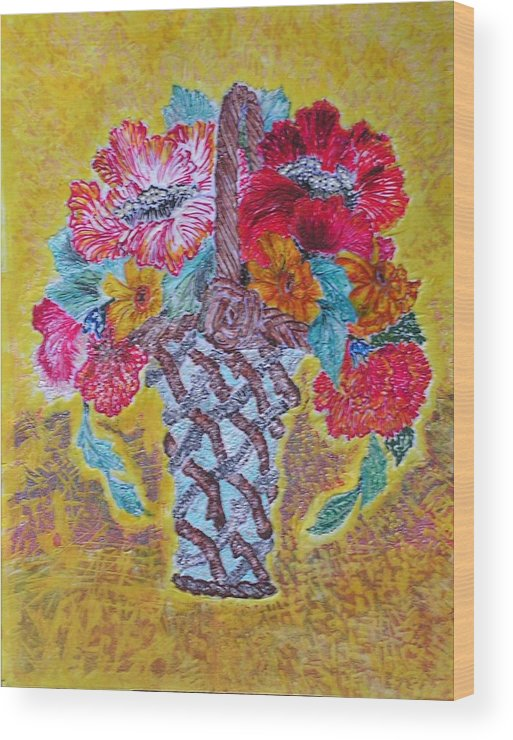 Floral Wood Print featuring the painting Mexican by John Vandebrooke