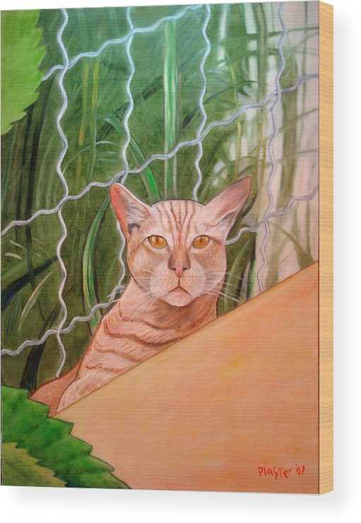 Cat Wood Print featuring the painting Miami Lewie by Scott Plaster