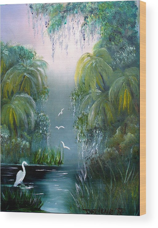 Morning Wood Print featuring the painting Misty Morning Swamp by Darlene Green