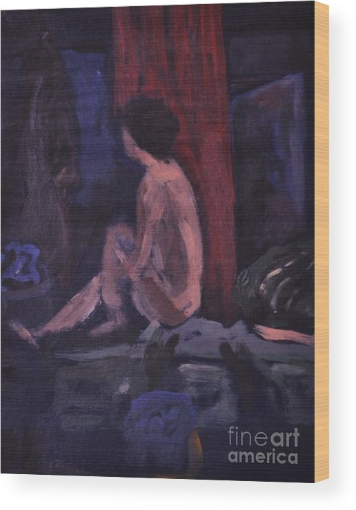 Model Wood Print featuring the painting Model In Blue And Red by Reb Frost