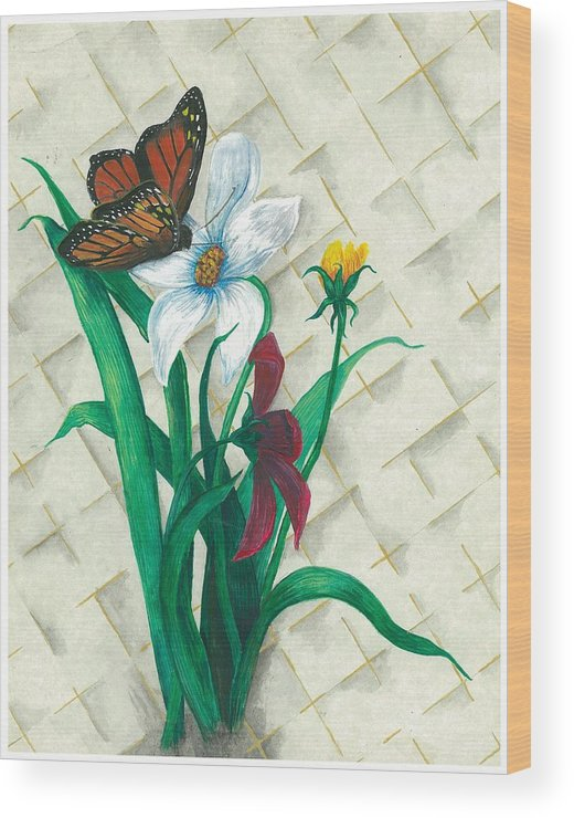 Flowers Wood Print featuring the painting Monarch And Flowers by Sally Balfany