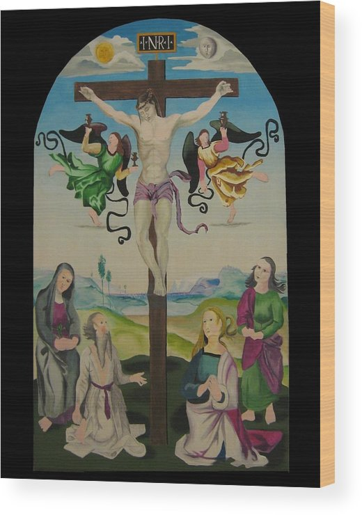 Wood Print featuring the painting Mond Crucifixion by Ronnie Lee