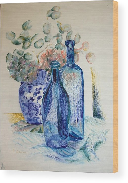 Still Life Wood Print featuring the drawing Monnaie Bleue by Muriel Dolemieux