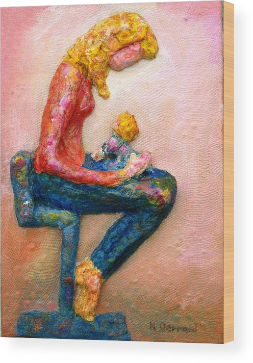 Mother And Child Wood Print featuring the painting Mother Bonding I by Naomi Gerrard