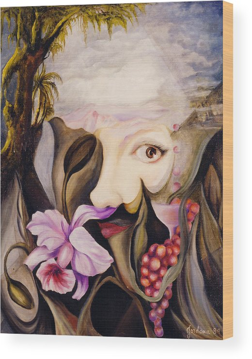 Surreal Landscape Artwork Wood Print featuring the painting Mother Earth by Jordana Sands