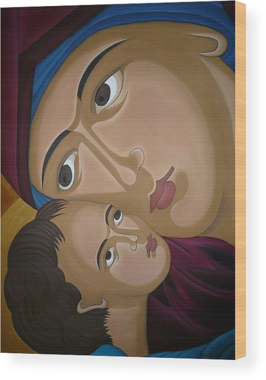 Marinella Owens Artist Oil Paintings Greek Icons Wood Print featuring the painting Mother-love by Marinella Owens