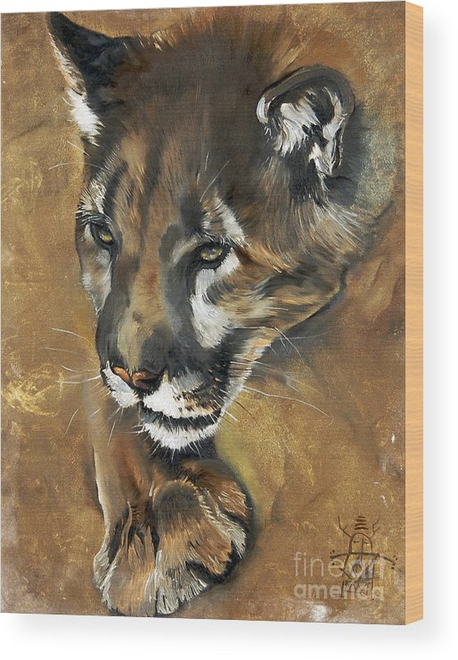Southwest Art Wood Print featuring the painting Mountain Lion - Guardian Of The North by J W Baker