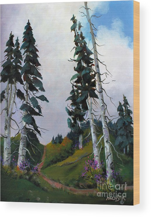 Mountains Wood Print featuring the painting Mt. Rainier 3 by Marta Styk
