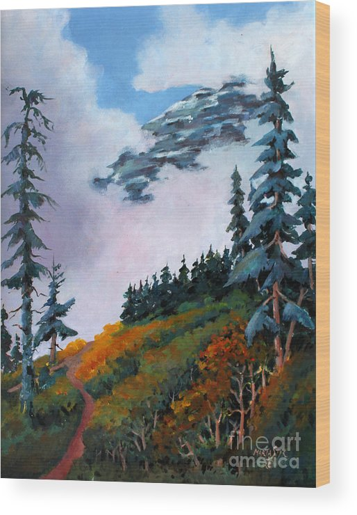 Landscape Wood Print featuring the painting Mt. Rainier 4 by Marta Styk