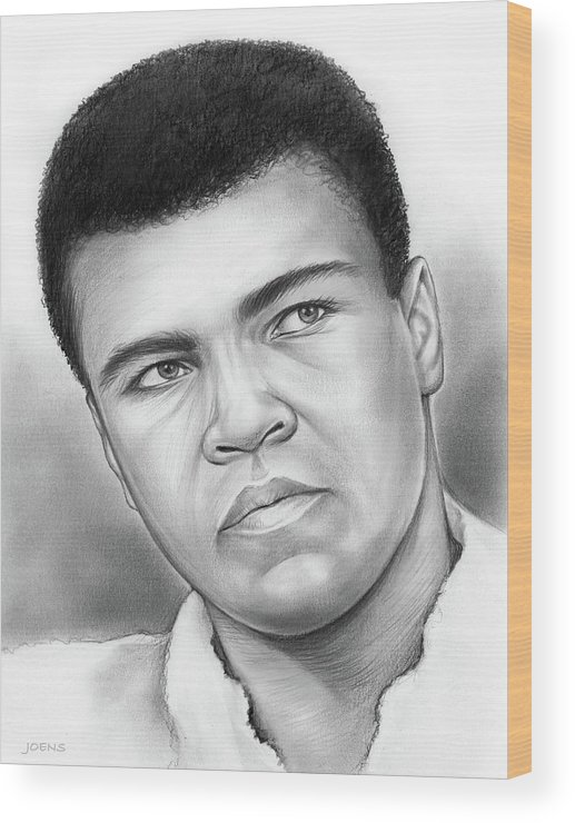 Muhammad Ali Wood Print featuring the drawing Muhammad Ali by Greg Joens
