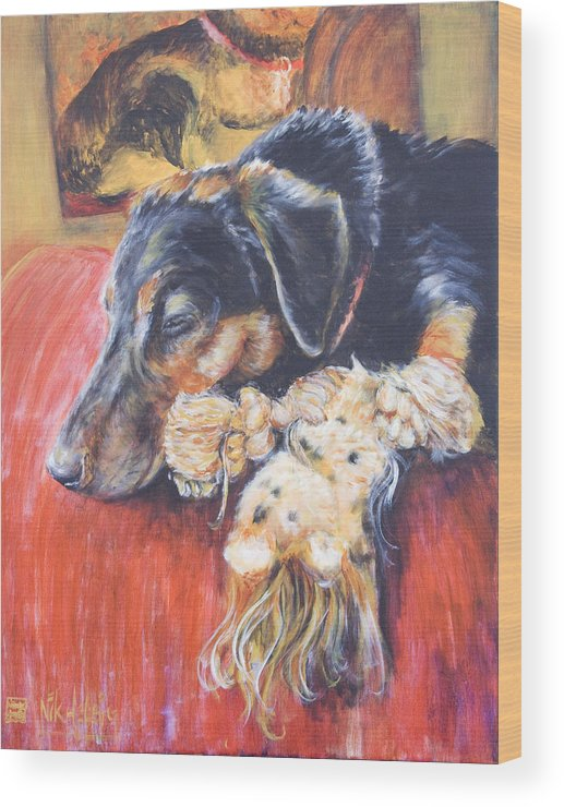 Dog Wood Print featuring the painting Murphy Viii by Nik Helbig