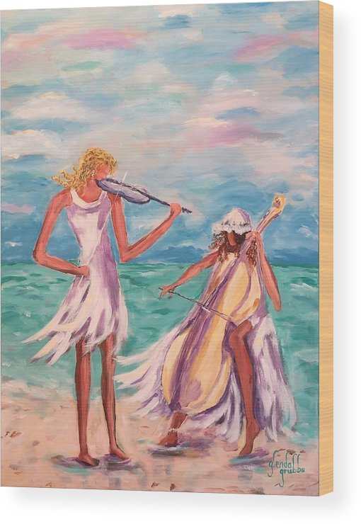 Beach Ladies Wood Print featuring the painting Music At The Water's Edge by Glenda Grubbs