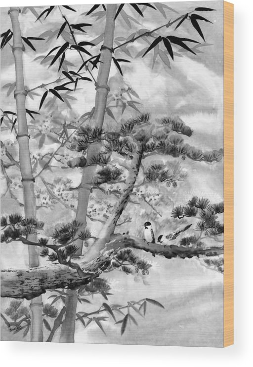 Black And White Wood Print featuring the painting Nature by Eileen Fong