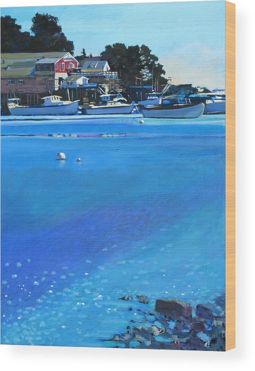 Maine Wood Print featuring the painting New Harbor by Robert Bissett