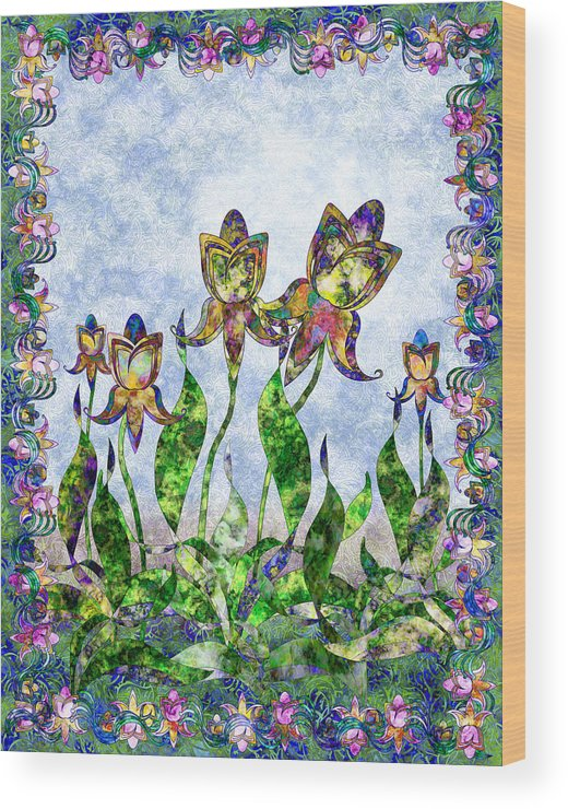 Iris Wood Print featuring the digital art Nouveau 3 by Gae Helton