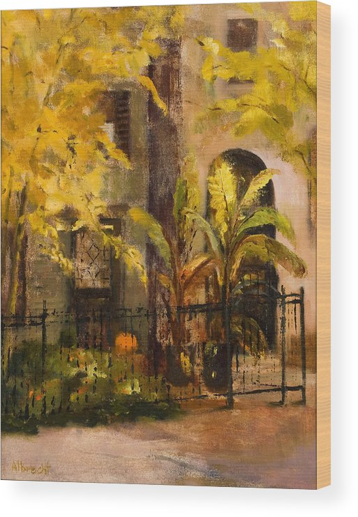 Autumn Garden Wood Print featuring the painting On Orleans In Old Town by Nancy Albrecht