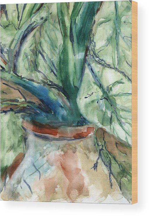 Plant Wood Print featuring the painting Organic by Marilyn Barton