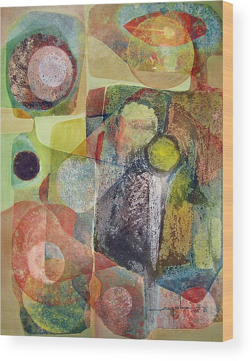 Abstract Wood Print featuring the painting Os1961dc002bo Abstract Landscape Potosi 17x22.25 by Alfredo Da Silva