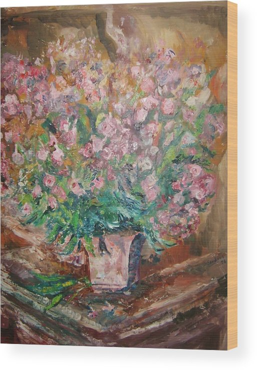 Still Life Flowers Wood Print featuring the painting Phlox by Joseph Sandora Jr
