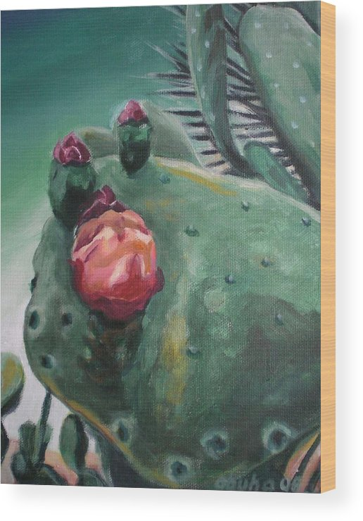 Cactus Wood Print featuring the painting Pink And Purple Cactus Blossom by Aleksandra Buha