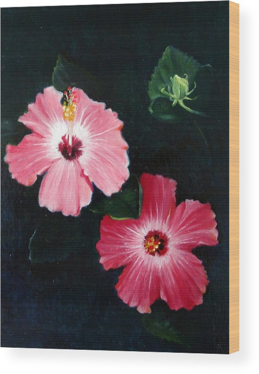 Oil Wood Print featuring the painting Pink Hibiscus by Bonnie Haversat