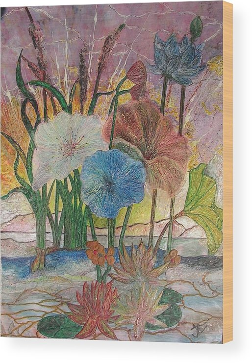 Floral Wood Print featuring the painting Pond by John Vandebrooke