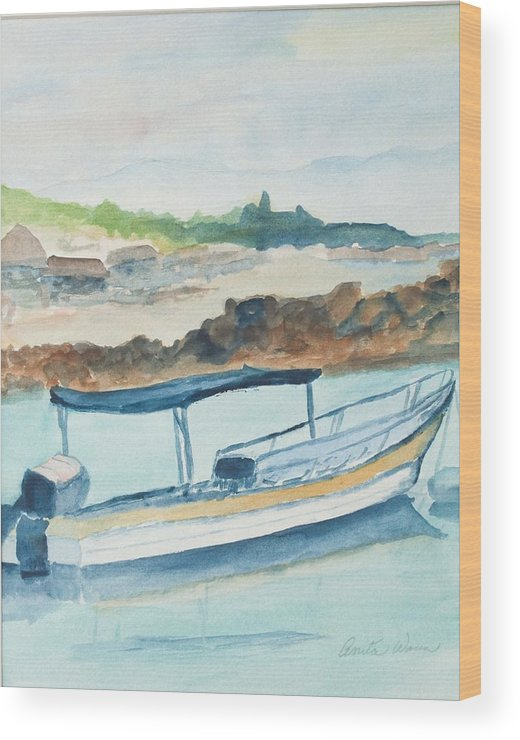 Landscpe Marine Wood Print featuring the painting Ponga by Anita Wann