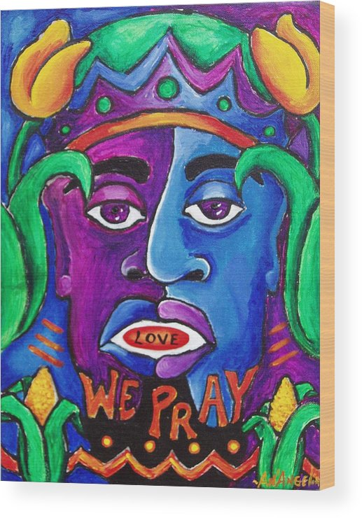 Colorful Wood Print featuring the mixed media Pray by AnAngelia Thompson