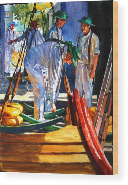 Figures Wood Print featuring the painting Preparing To Carry by Carolyn Epperly