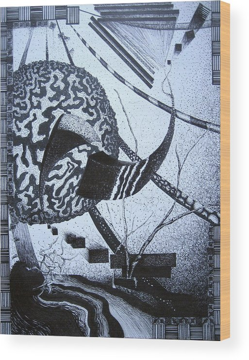 Abstract Wood Print featuring the drawing Puzzled by Jessica De la Torre