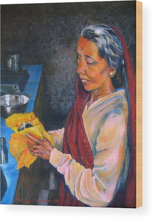 India Wood Print featuring the painting Rani The Cook by Art Nomad Sandra Hansen