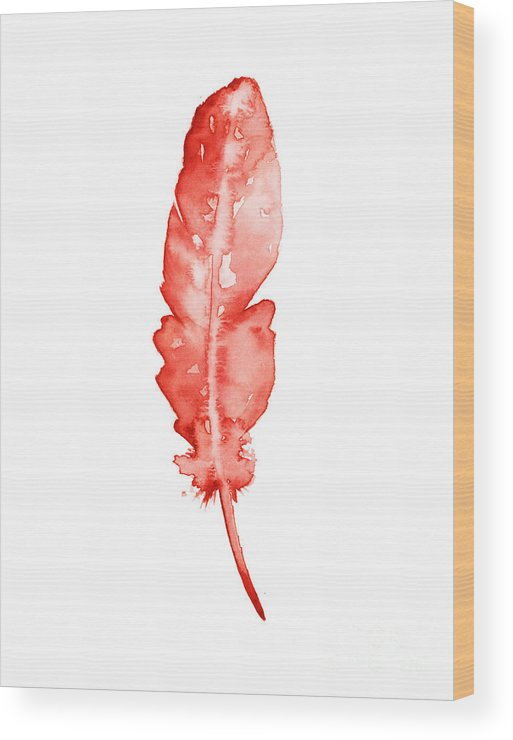 Feather Wood Print featuring the painting Red Feather Minimalist Painting by Joanna Szmerdt