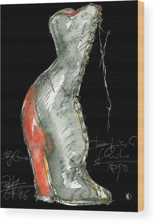 Paintings Wood Print featuring the painting Redshoe by Joerg Bernhard Klemmer