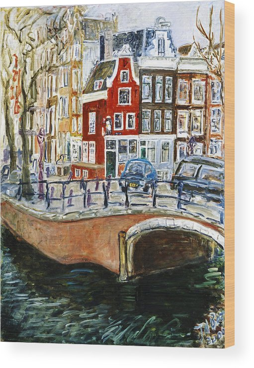 Amsterdam Cityscape Canal Water House Bridge Wood Print featuring the painting Reguliersgracht by Joan De Bot