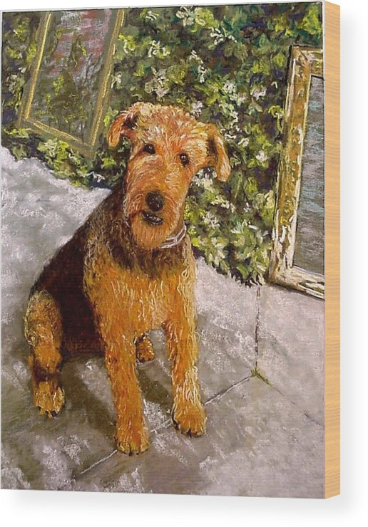 Airedale Wood Print featuring the painting Riley by David Horning