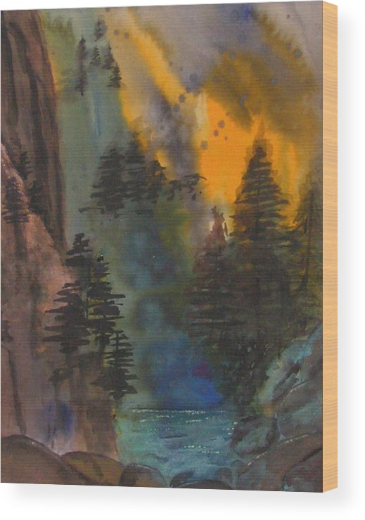 Mountains Wood Print featuring the painting Rocky Mountain High by Yael Eylat-Tanaka